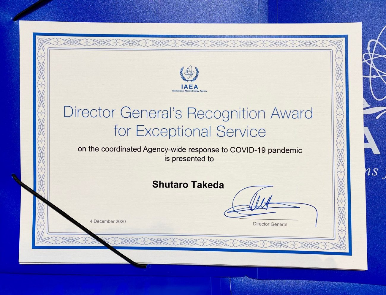 (Award) IAEA Director General's Recognition Award for Exceptional Service